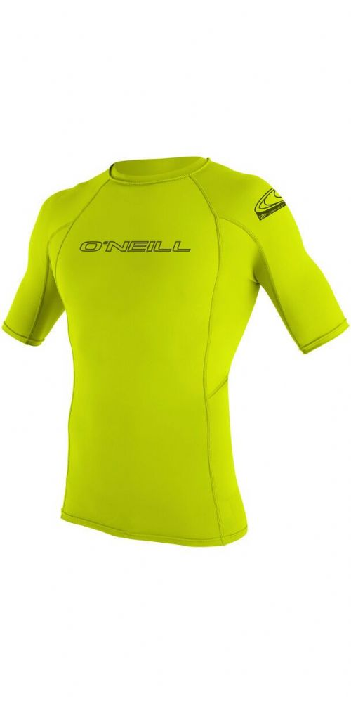 O'NEILL MENS RASH VEST.NEW SKINS UPF50+ SUN PROTECTION LIME CREW T SHIRT TOP S20